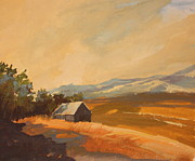 Wyoming Paintings - Wyoming Ranch by Elizabeth Lazeren