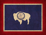 Wyoming State Flag Art On Worn Canvas Print by Design Turnpike