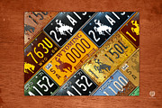 Road Trip Framed Prints - Wyoming State License Plate Map Framed Print by Design Turnpike