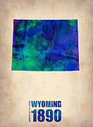 Map Art Digital Art Prints - Wyoming Watercolor Map Print by Irina  March