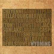 Mountains Mixed Media Posters - Wyoming Word Art State Map on Canvas Poster by Design Turnpike