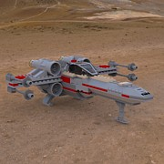 Lego Digital Art - X-Wing on the Ground by John Hoagland