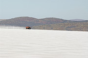 Xb Coupe Framed Prints - XB Ford Falcon Coupe on the salt at full throttle Framed Print by Frank Kletschkus
