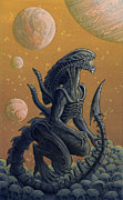 Sci-fi Painting Framed Prints - Xenomorph Joe Framed Print by Alan  Hawley