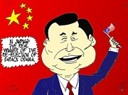 Waving Flag Mixed Media - Xi Jinping loves America cartoon by OptionsClick BlogArt