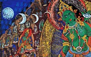Woodcut Paintings - Xiangba - Tibet by Pg Reproductions