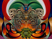 Eagle Painting Framed Prints - Xiuhcoatl The Fire Serpent Framed Print by Ricardo Chavez-Mendez