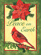 Red Cardinal Framed Prints - Xmas around the World 1 Framed Print by Debbie DeWitt