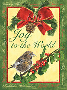 Bird On Tree Painting Prints - Xmas around the World 2 Print by Debbie DeWitt