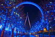 London Central Framed Prints - Xmas London Eye  Framed Print by Karl Wilson