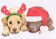Puppies Drawings Posters - Xmas Pups Poster by Deborah Nicholas