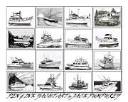 Yachts Drawings Prints - Yacht Art in Pen and Ink Print by Jack Pumphrey
