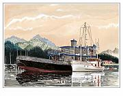 Yacht Painting Originals - Yacht Charlie B rafted to Adak by Jack Pumphrey