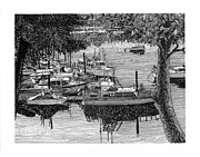 Pen Drawings Drawings Framed Prints - Yacht Club Cruise to Vashon Island Framed Print by Jack Pumphrey