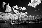 Yachts Prints - Yachts And Boats In Barcelona Port Marina Catalonia Spain Print by Joe Fox