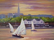 Dublin Painting Originals - Yachts at Dun Laoghaire Dublin by Jim Mc Partlin