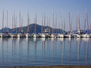 Docked Sailboats Posters - Yachts Docked In The Harbor Gocek Poster by Christine Giles
