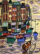 Cubist Digital Art Posters - Yachts For Sale Poster by Anthony Falbo