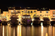 St.tropez Framed Prints - Yachts in St Tropez harbor at night Framed Print by Matteo Colombo