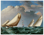 Sailing Ships Posters - Yachts rounding the Mark Poster by James E Buttersworth