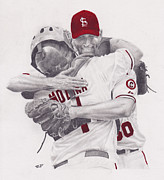 Catcher Drawings - Yadi and Waino by Robert Douglas