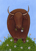 Yak Painting Posters - Yak Snack Poster by Christy Beckwith