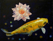 Golden Fish Painting Posters - Yamabuki Ogon Koi Poster by Michael Creese