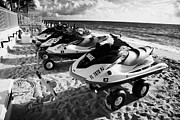 Yamaha Posters - Yamaha Waverunner Jetskis For Hire On Fort Lauderdale Beach Florida Usa Poster by Joe Fox