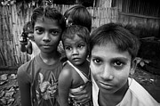 Poor People Prints - Yangon slum kids Print by Ruben Vicente