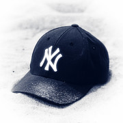 Baseball Art Prints - Yankee Cap blue toned Print by John Rizzuto
