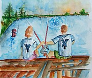 Baseball Painting Metal Prints - Yankee Fans Day Off Metal Print by Elaine Duras
