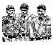 Uniforms Drawings Posters - Yankee Legends Poster by Bruce Kay