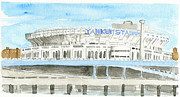 New York Yankees Mixed Media Prints - Yankee Stadium 1980s Print by Dan  Orapello