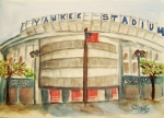 Baseball Stadiums Painting Framed Prints - Yankee Stadium  Framed Print by Elaine Duras