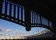 Baseball Stadiums Framed Prints - Yankee Stadium Facade Framed Print by Allen Beatty