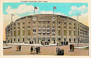 Yankees Digital Art Framed Prints - Yankee Stadium Postcard Framed Print by Digital Reproductions