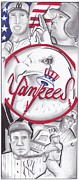 Yankees Drawings Framed Prints - Yankees Best Framed Print by Tasha Clarke