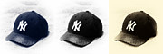 Baseball Cap Prints - Yankees Print by John Rizzuto