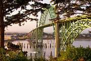 Waves Splash Posters - Yaquina Bay Bridge Morning Light Poster by Darren  White