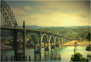 Joyce Dickens Metal Prints - Yaquina Bay Bridge Or Metal Print by Joyce Dickens