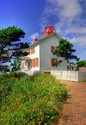 Picket Fences Photos - Yaquina Bay Light 2 by Mel Steinhauer