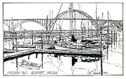 Sailboats Drawings - Yaquina Bay Newport Oregon by Ira Shander