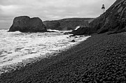 Surf Silhouette Framed Prints - Yaquina Head In BW Framed Print by Nick  Boren