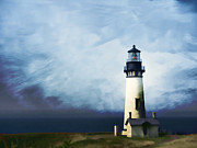 Pastel Chalk Posters - Yaquina Head Light Poster by Carol Leigh