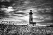 Mark Kiver Prints - Yaquina Head Lighthouse Black and White Print by Mark Kiver