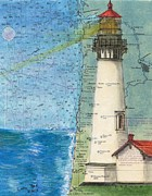 Chart Paintings - Yaquina Head Lighthouse OR Nautical Chart Map Art Cathy Peek by Cathy Peek