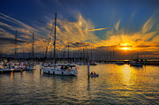 Reflections Of Sun In Water Prints - Yarmouth Sundown Print by Nigel Hamer