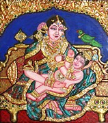 Canvas On Board Metal Prints - Yashoda holding gopala Metal Print by Jayashree