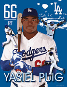 Leagues Digital Art Framed Prints - Yasiel Puig Framed Print by Israel Torres