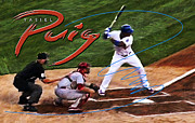 Cincinnati Cincinnati Reds Framed Prints - Yasiel Puig Framed Print by Ron Regalado